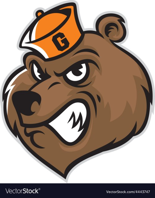 small resolution of grizzly bear head mascot vector image