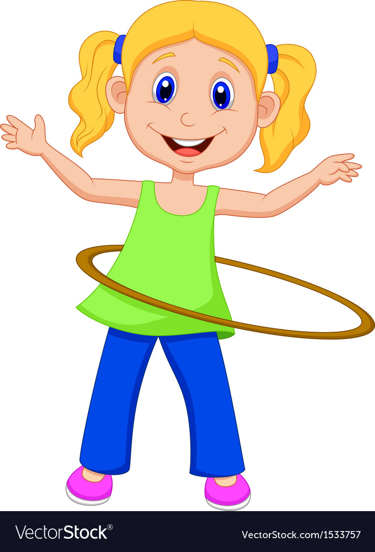 hight resolution of cute girl twirling hula hoop vector image