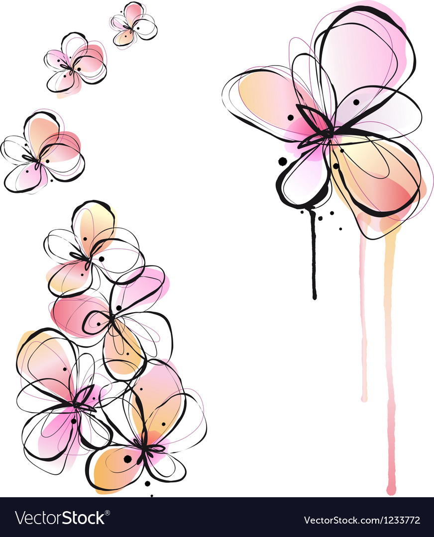 abstract watercolor flowers