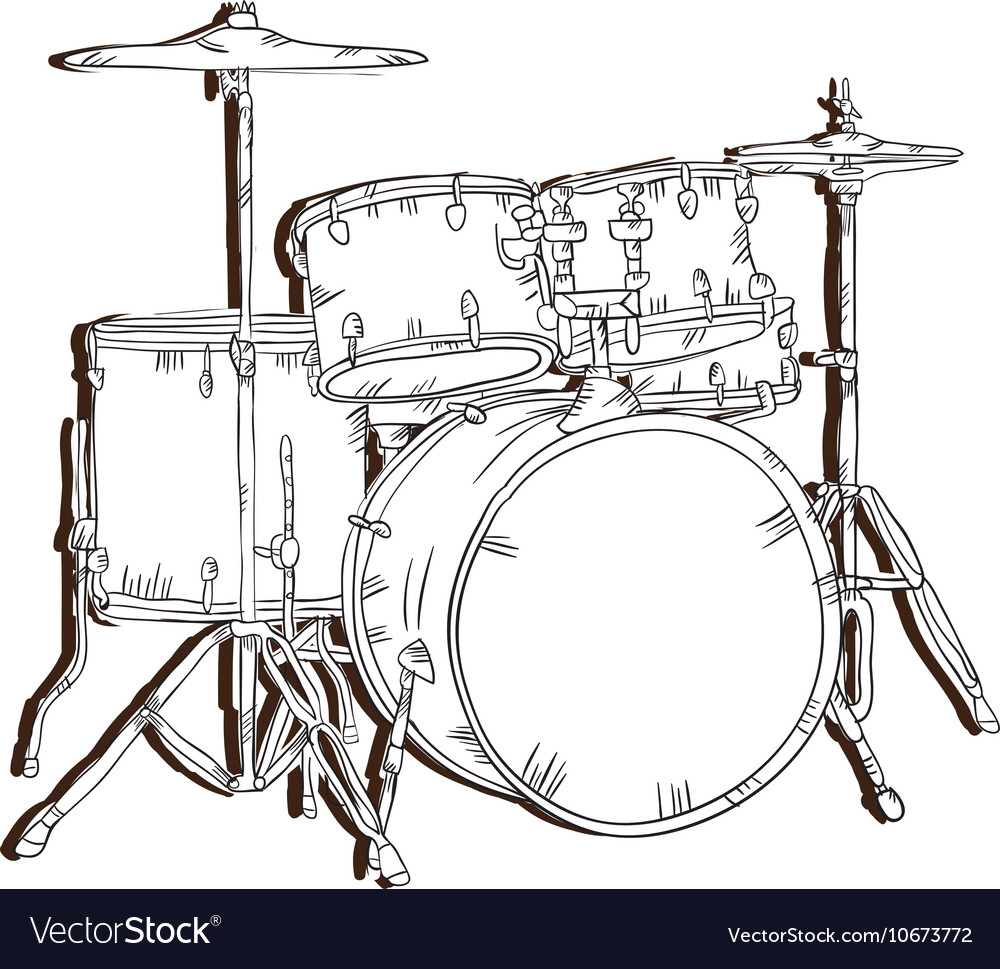 hight resolution of drum set musical instrument vector image
