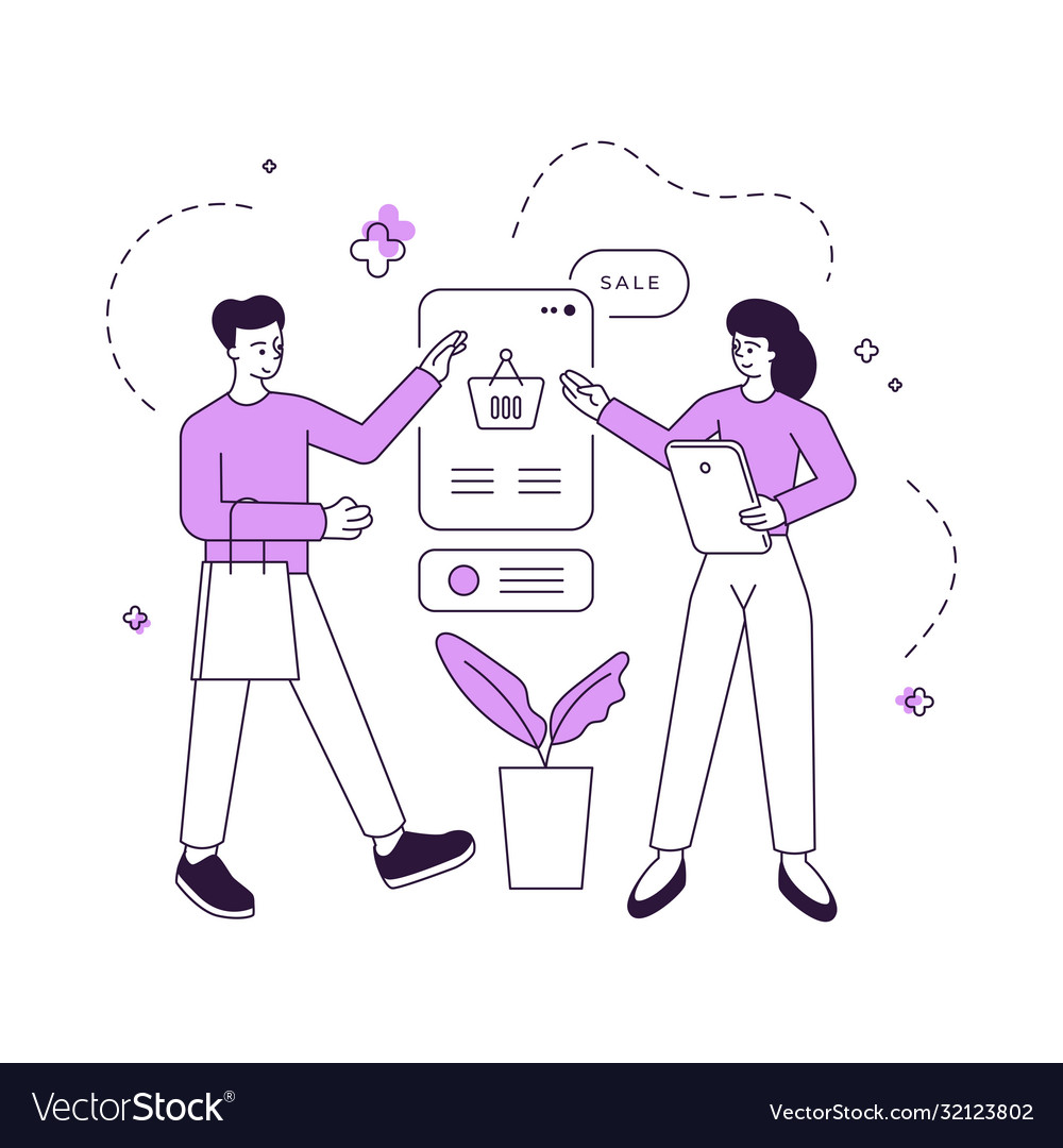 manger offering goods to customer during sale vector image