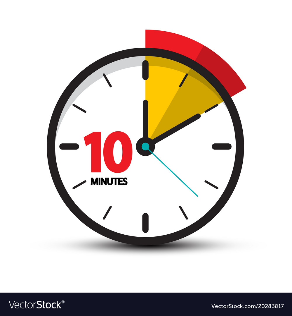 10 minutes clock face ten minute icon Royalty Free Vector