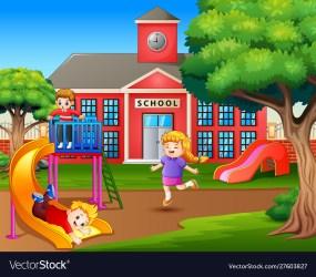 cartoon playing playground vector