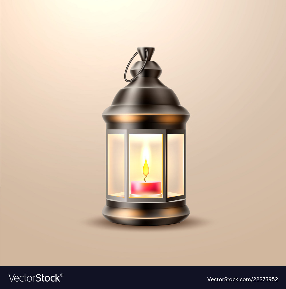Vintage Old Lantern Lamp With Candle Royalty Free Vector