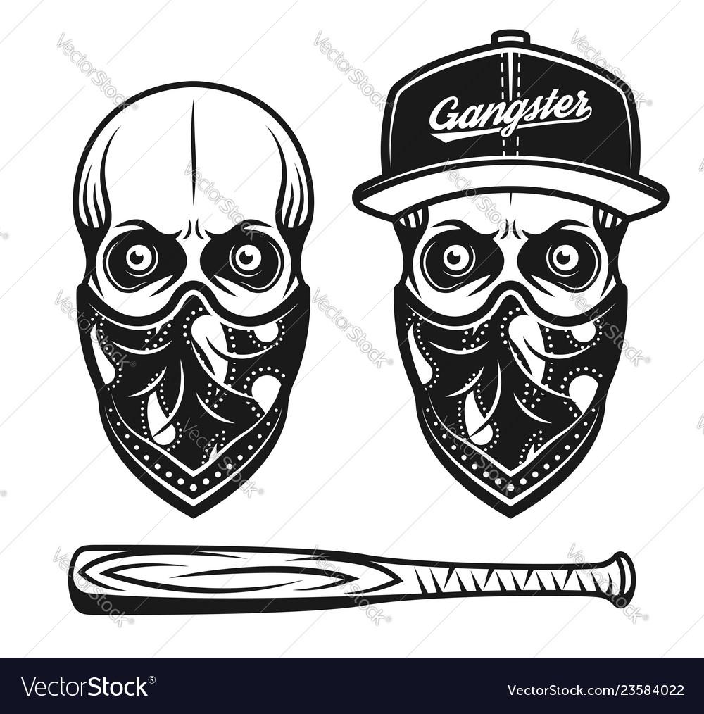 gangster skull in baseball