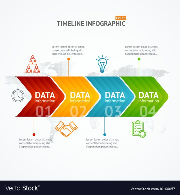 Infographic Timeline With Arrow Horizontal Vector
