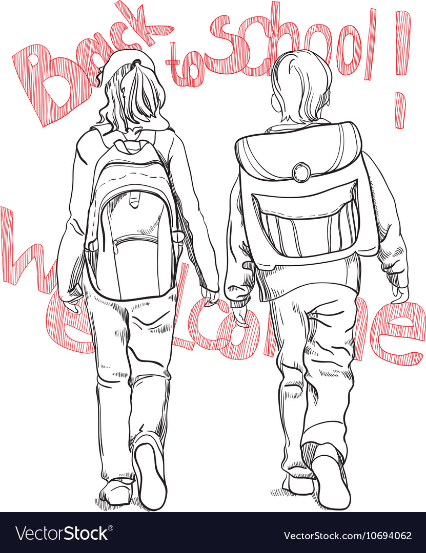 Boy And Girl Drawing : drawing, Sketch, Pupils, Schoolbag