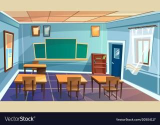 Cartoon empty school college classroom Royalty Free Vector