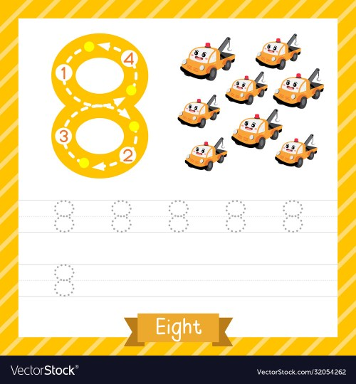 small resolution of Number 8 transportation tracing worksheet Vector Image