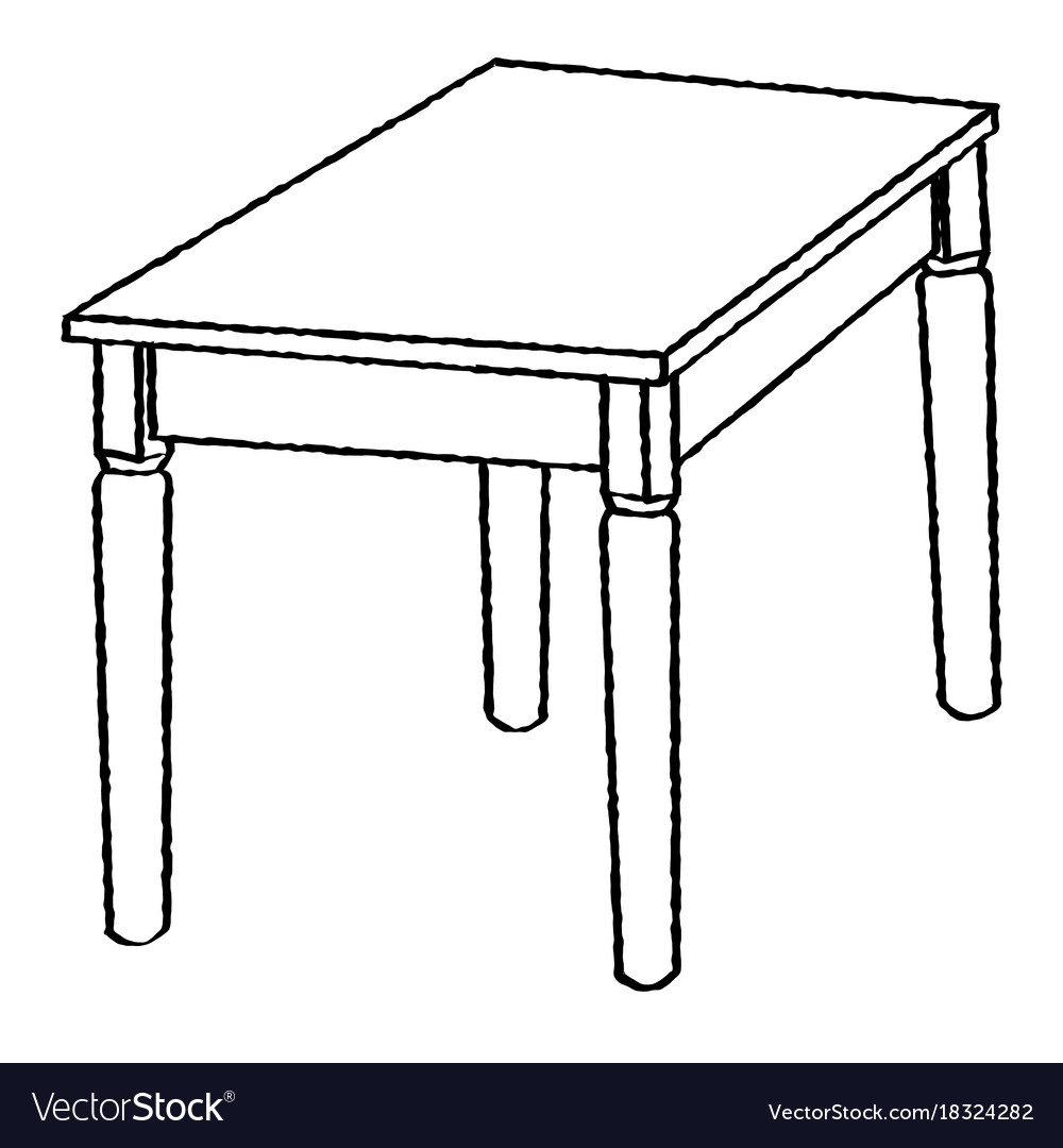 Line drawing of table simple line Royalty Free Vector Image