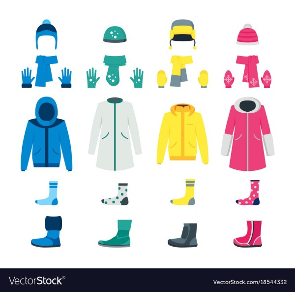 Cartoon Color Winter Clothes Icon Set Royalty Free Vector
