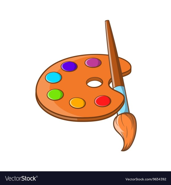 Art Palette With Paint Brush Icon Cartoon Style Vector