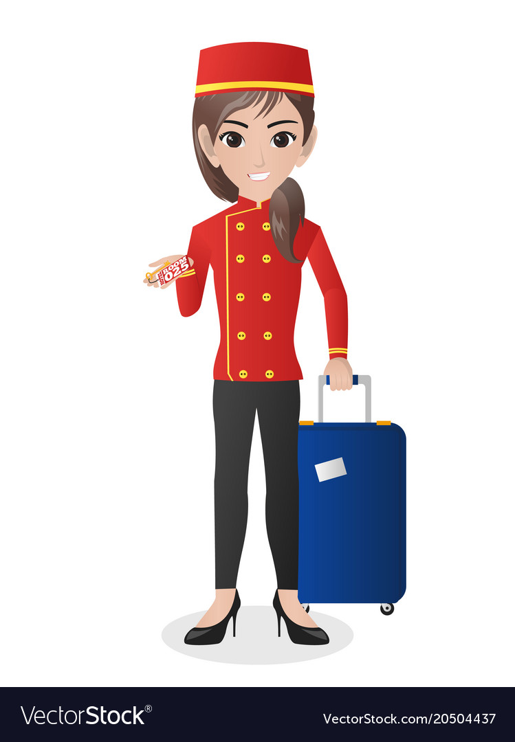 Female Hotel Porter Carrying Suitcase Vector Image