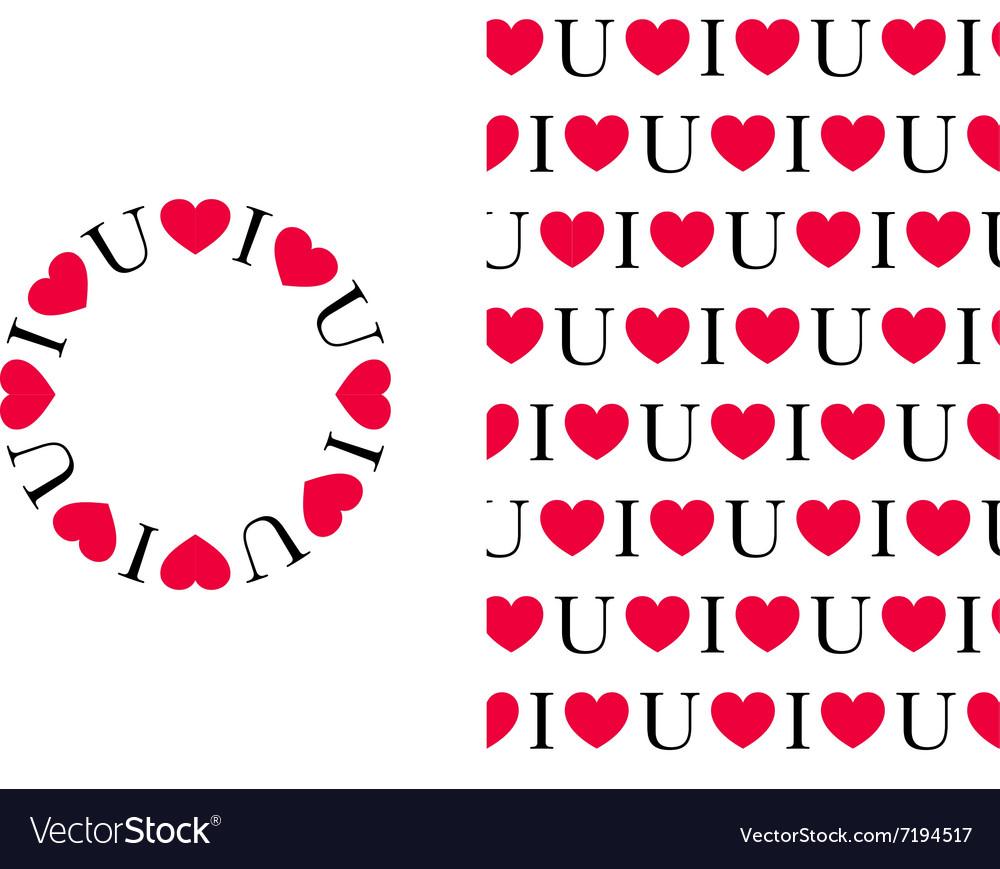 Download I love U Pattern and Circle Royalty Free Vector Image