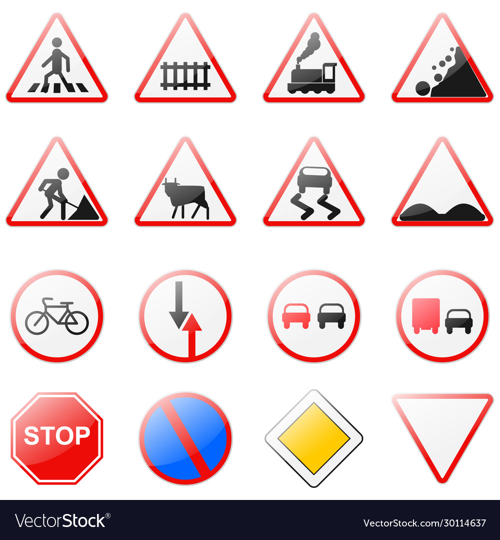 Road Signs Traffic Rules Legend For Your Design Vector Image