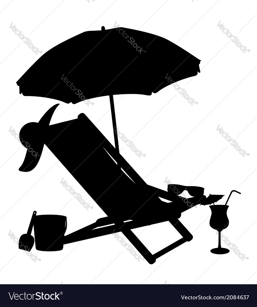 Beach Chairs With Umbrella Silhouette Of Beach Chairs And Umbrellas