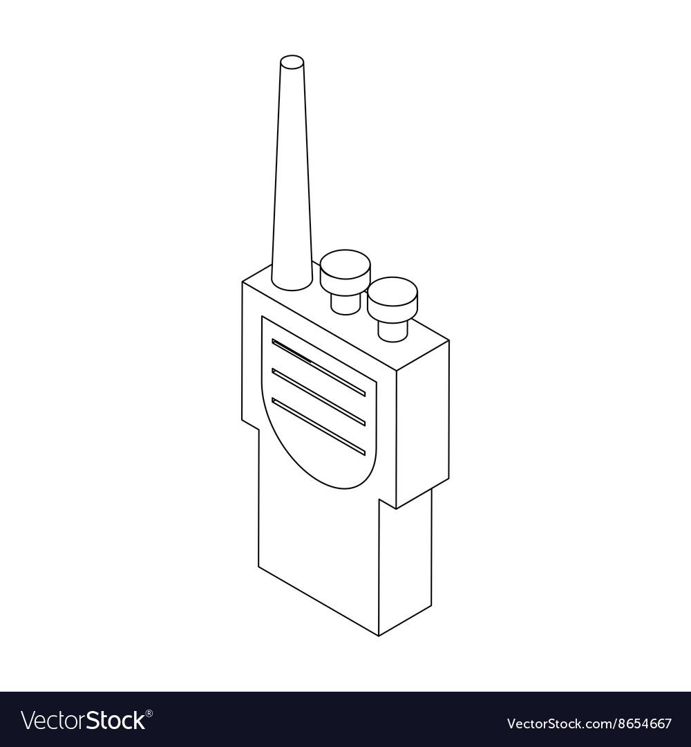 hight resolution of portable handheld radio icon in isometric 3d style vector image