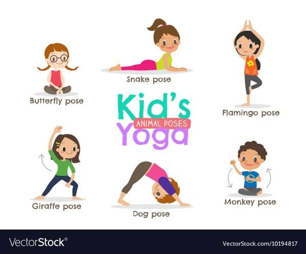 Yoga Kids Poses Cartoon Royalty Free Vector