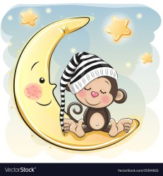 sleeping monkey cartoon cute moon vector bear shutterstock teddy reginast777 baby dibujos drawing sleep cartoons monkeys animados clip caricatura vectors
