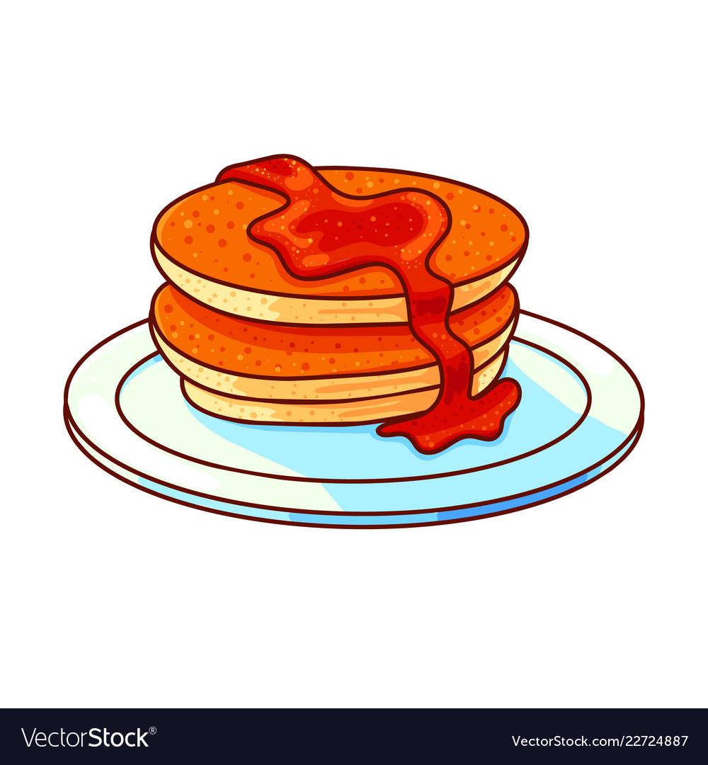 medium resolution of pancakes stack hand drawn vector image