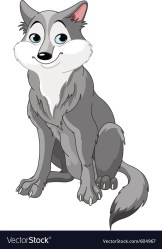wolf cartoon cute vector vectors