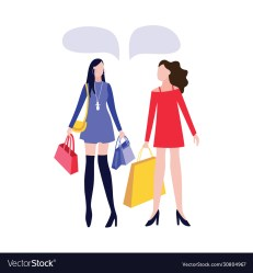 Two cartoon women with fashion store shopping bags