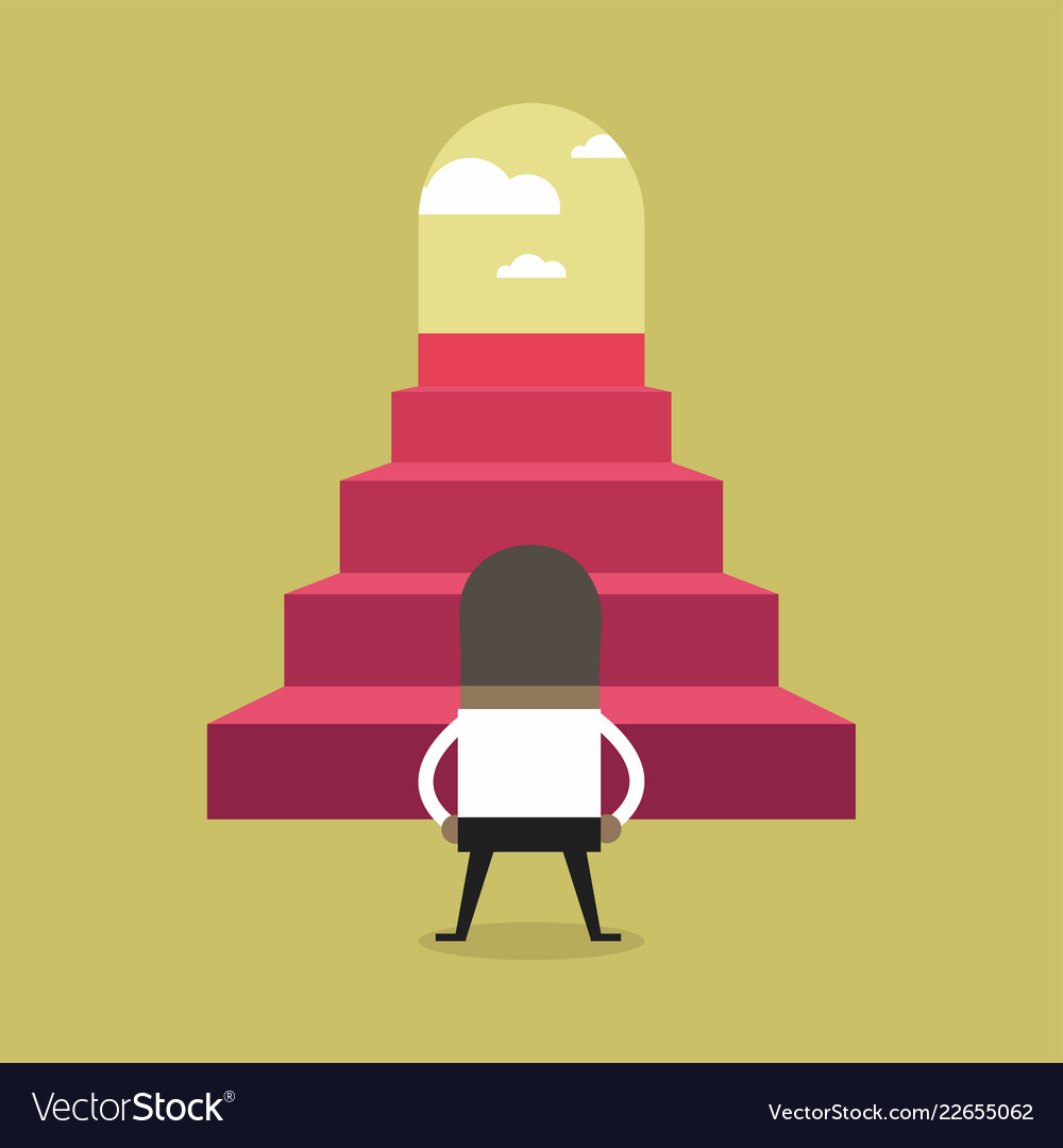 successful african businessman climbing