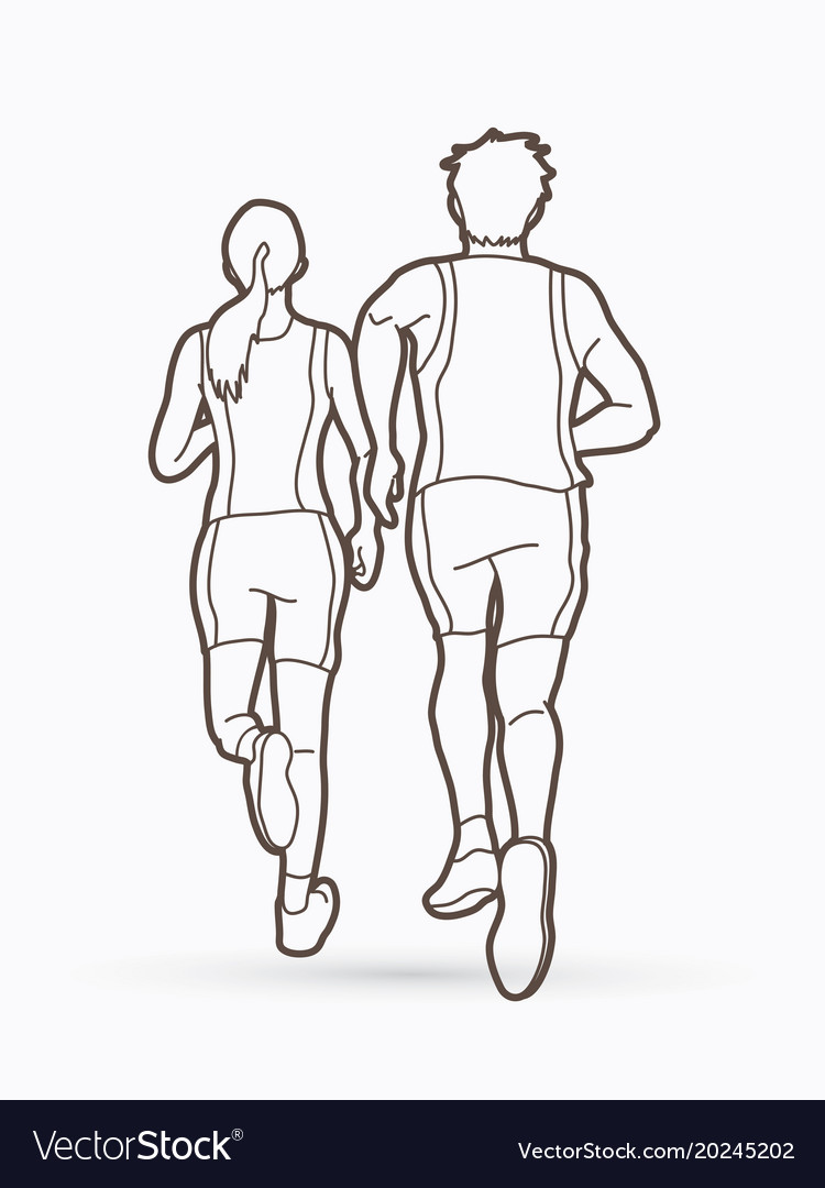How To Draw Someone Running : someone, running, Woman, Running, Together, People, Vector, Image