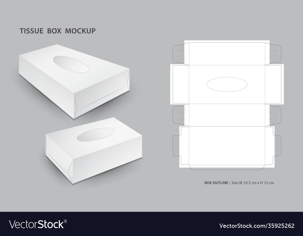 Privacy policy join the party! Tissue Box Mock Up Outline Box Packaging 3d Box Vector Image