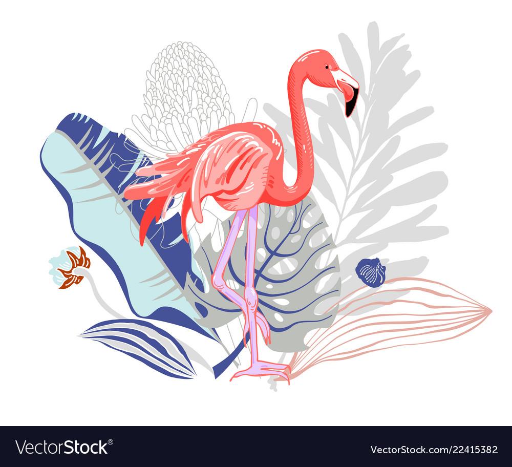 hand drawing pink flamingo