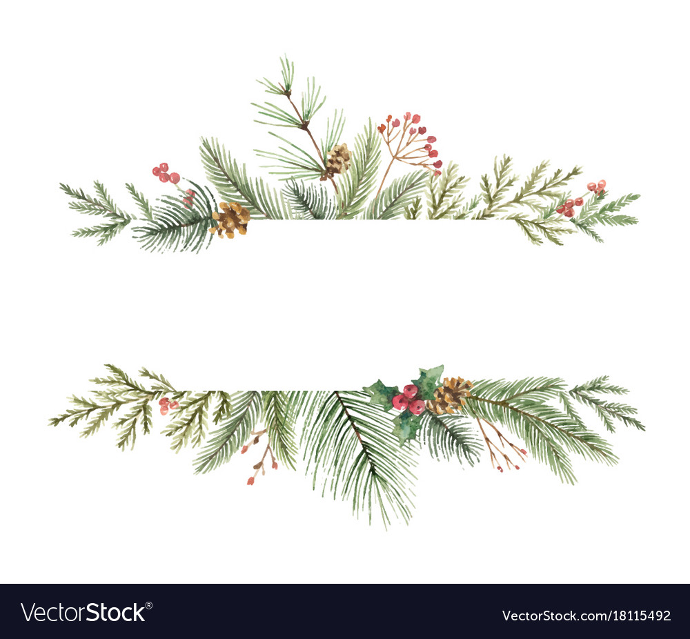 watercolor christmas banner with