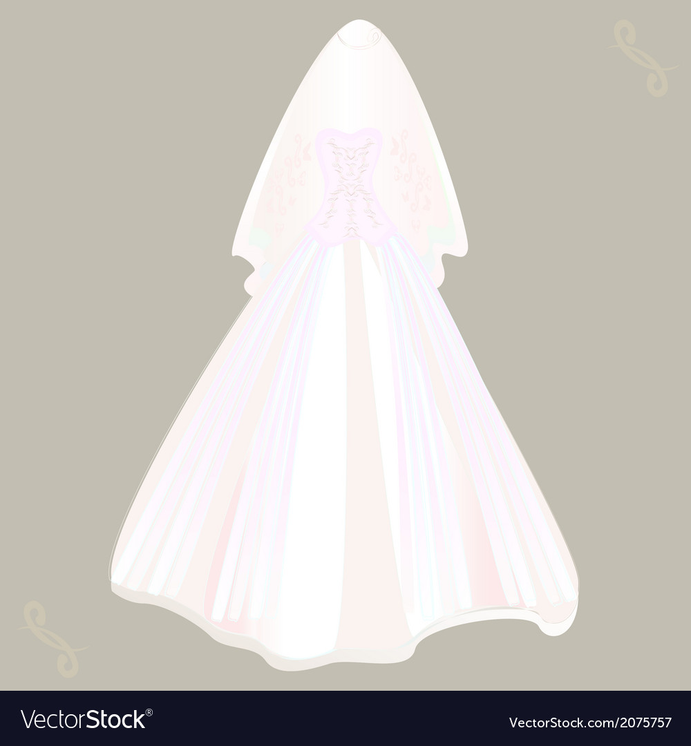 Wedding dress with veil Royalty Free Vector Image