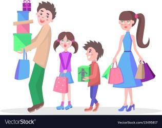 Family shopping cartoon flat concept Royalty Free Vector