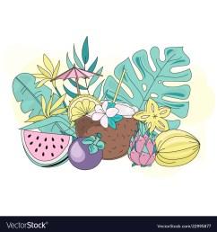 tropic fruits sea travel clipart color vector image [ 1000 x 1080 Pixel ]