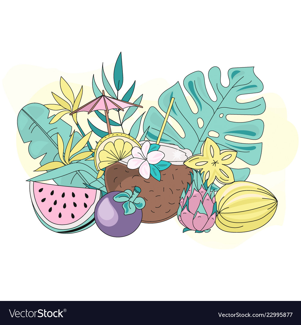 hight resolution of tropic fruits sea travel clipart color vector image