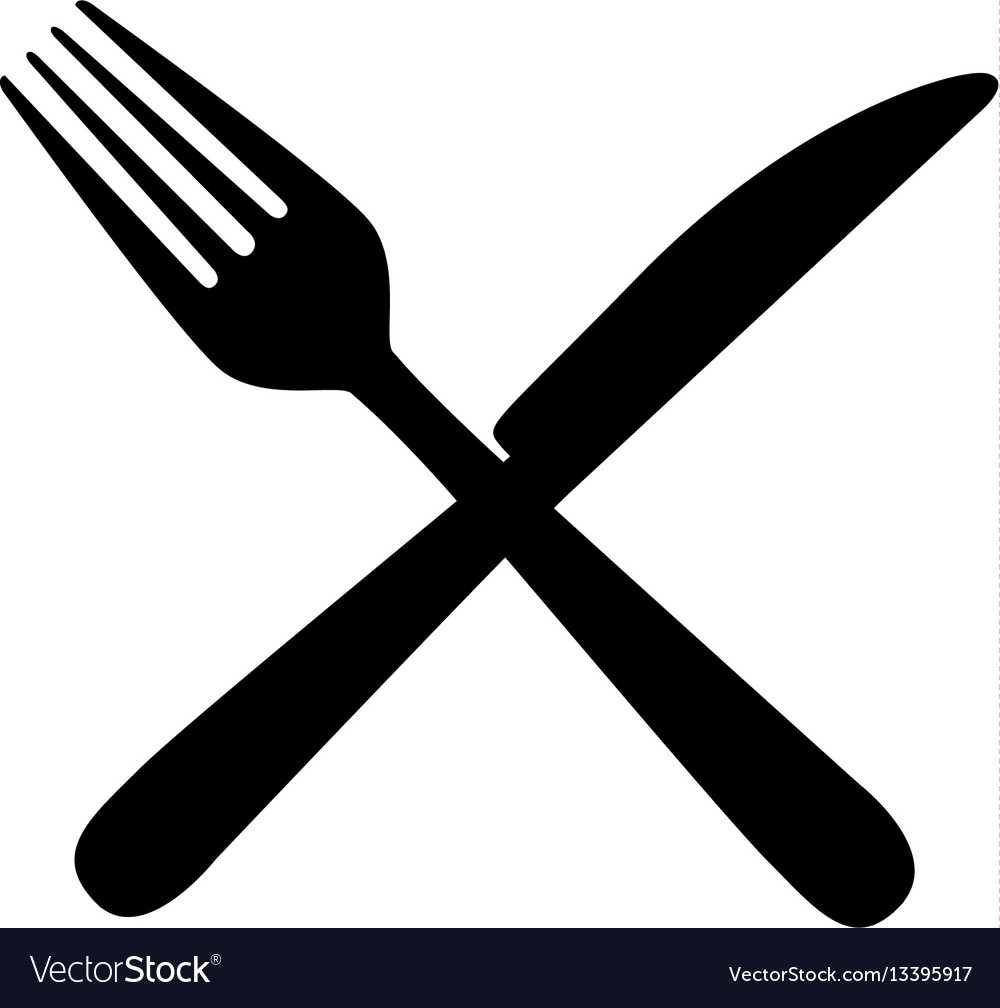 hight resolution of sticker contour knife and fork icon vector image