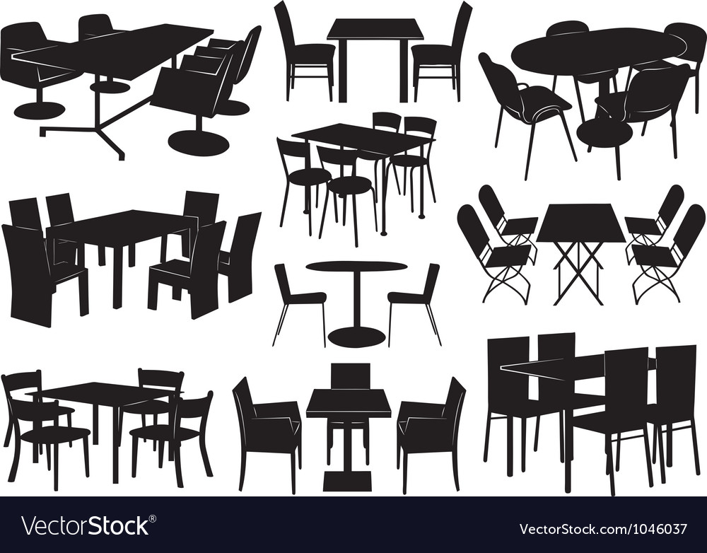 tables and chairs overstock dining room chair covers royalty free vector image vectorstock