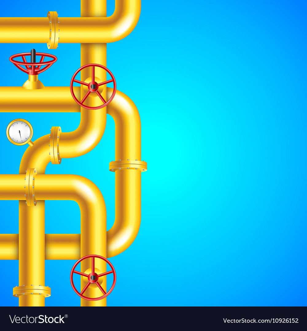 Yellow Plumbing Pipes On Blue Background Place Vector Image