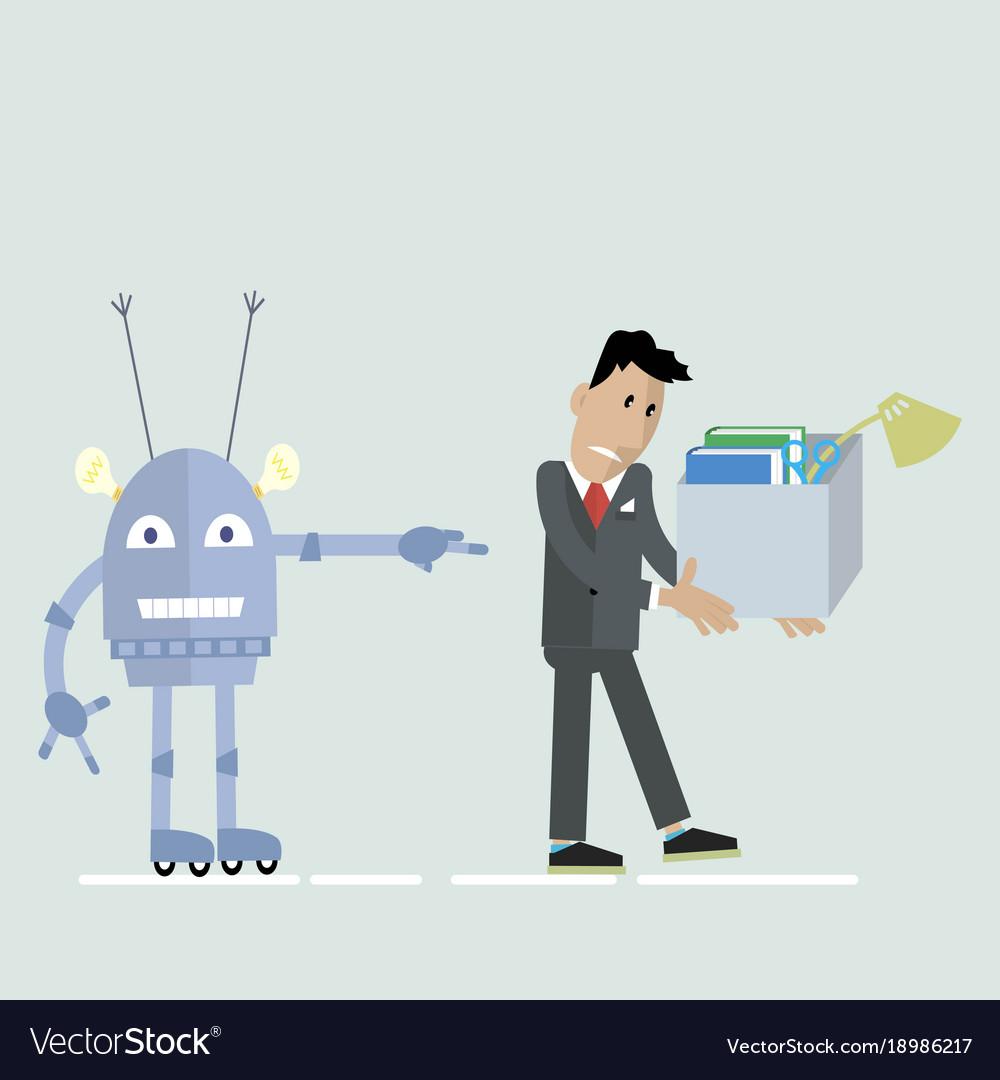hight resolution of robot vs man clipart vector image