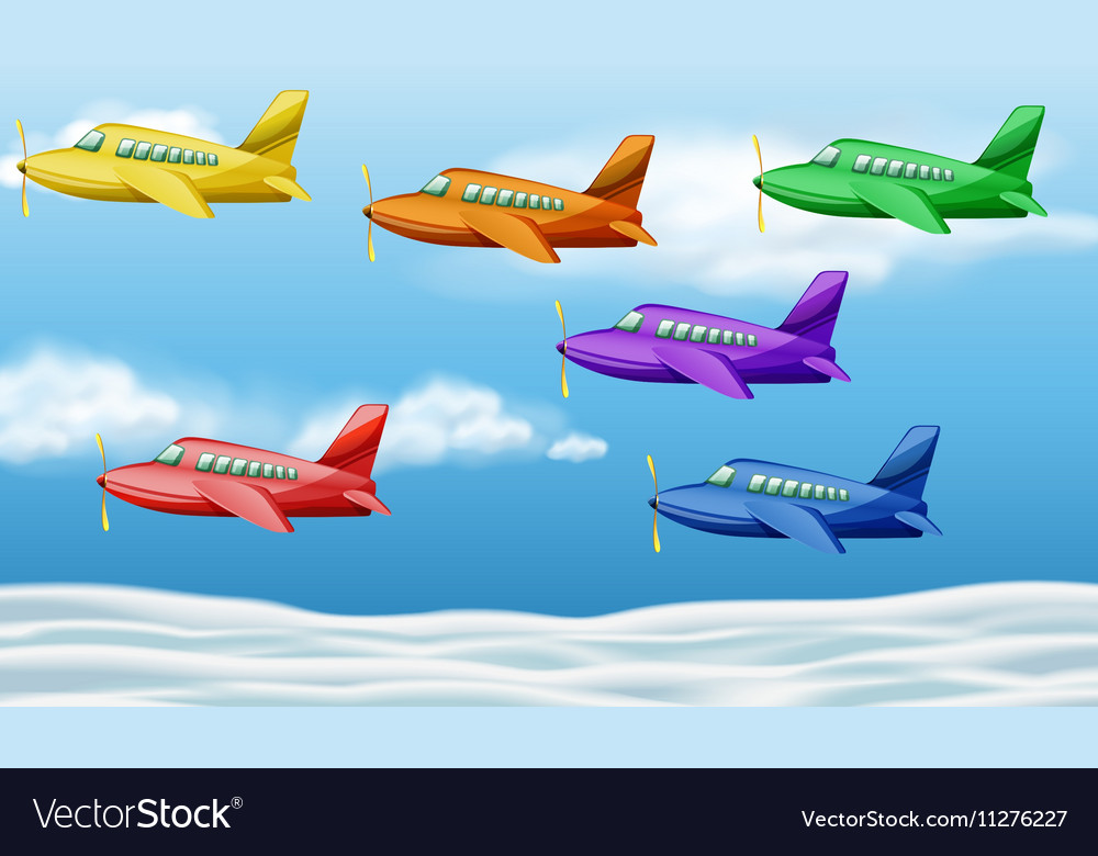 six airplanes flying in