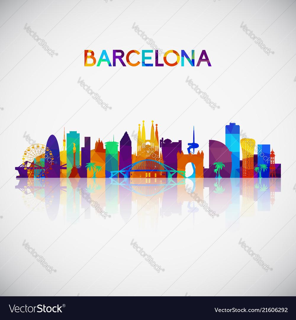medium resolution of barcelona skyline silhouette vector image