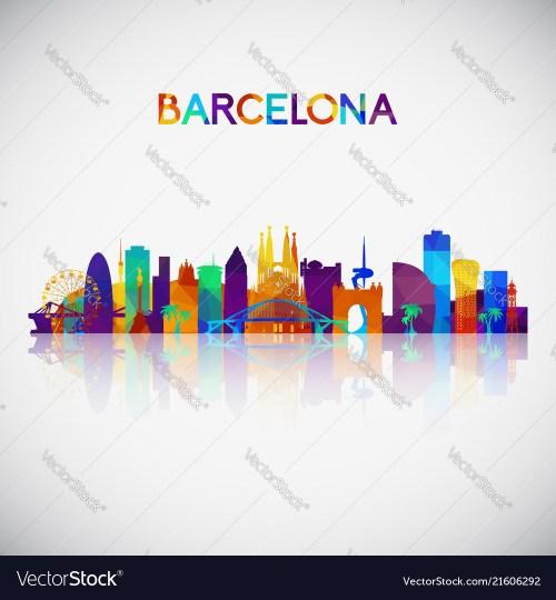 small resolution of barcelona skyline silhouette vector image