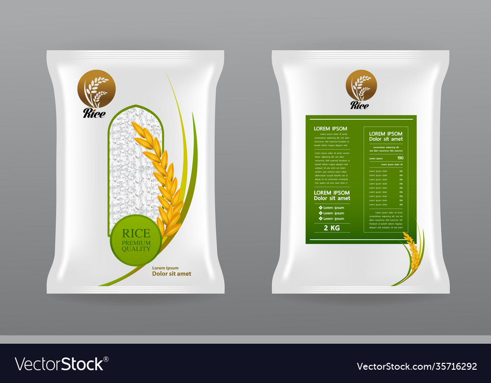 Clear rice groats bag mockup. Premium Rice Product Package Mockup Royalty Free Vector