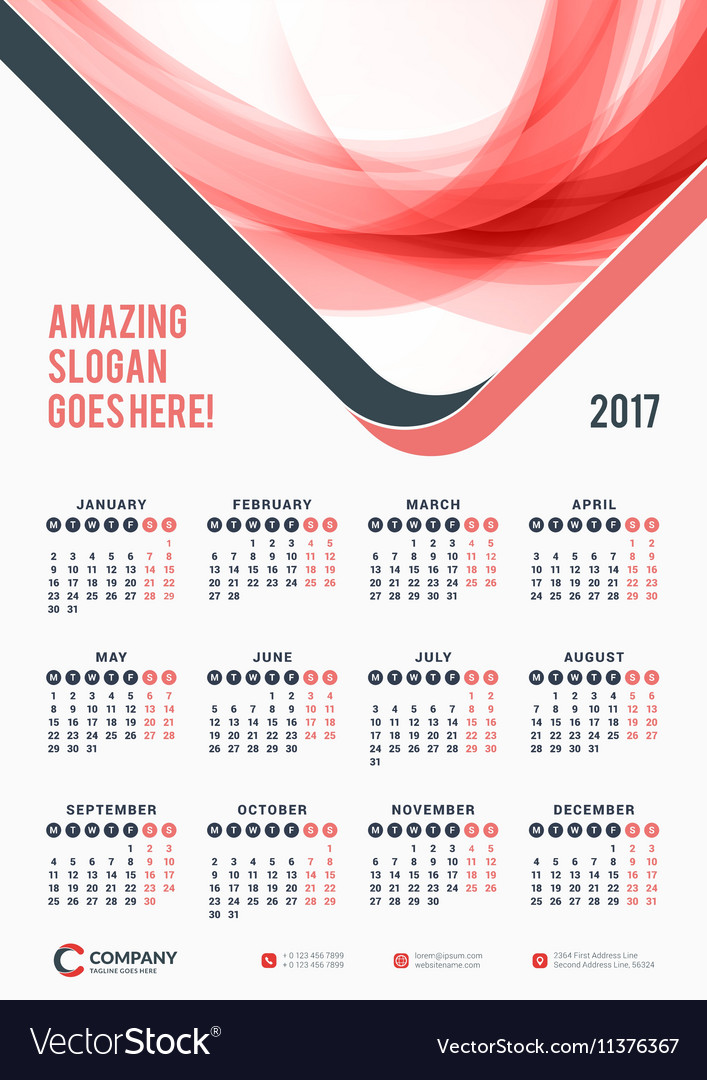 images 2017 Poster Calendar Template vectorstock