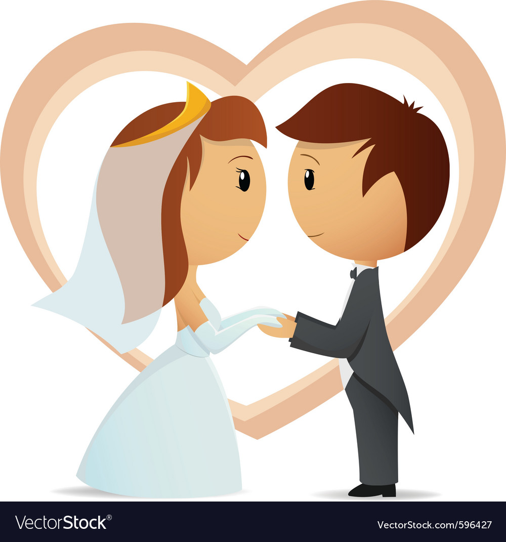 hight resolution of cartoon bride and groom vector image