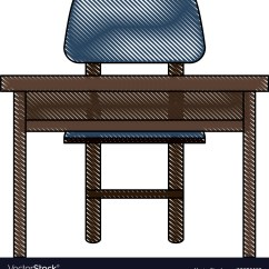Study Desk And Chair Solid Computer With Royalty Free Vector Image