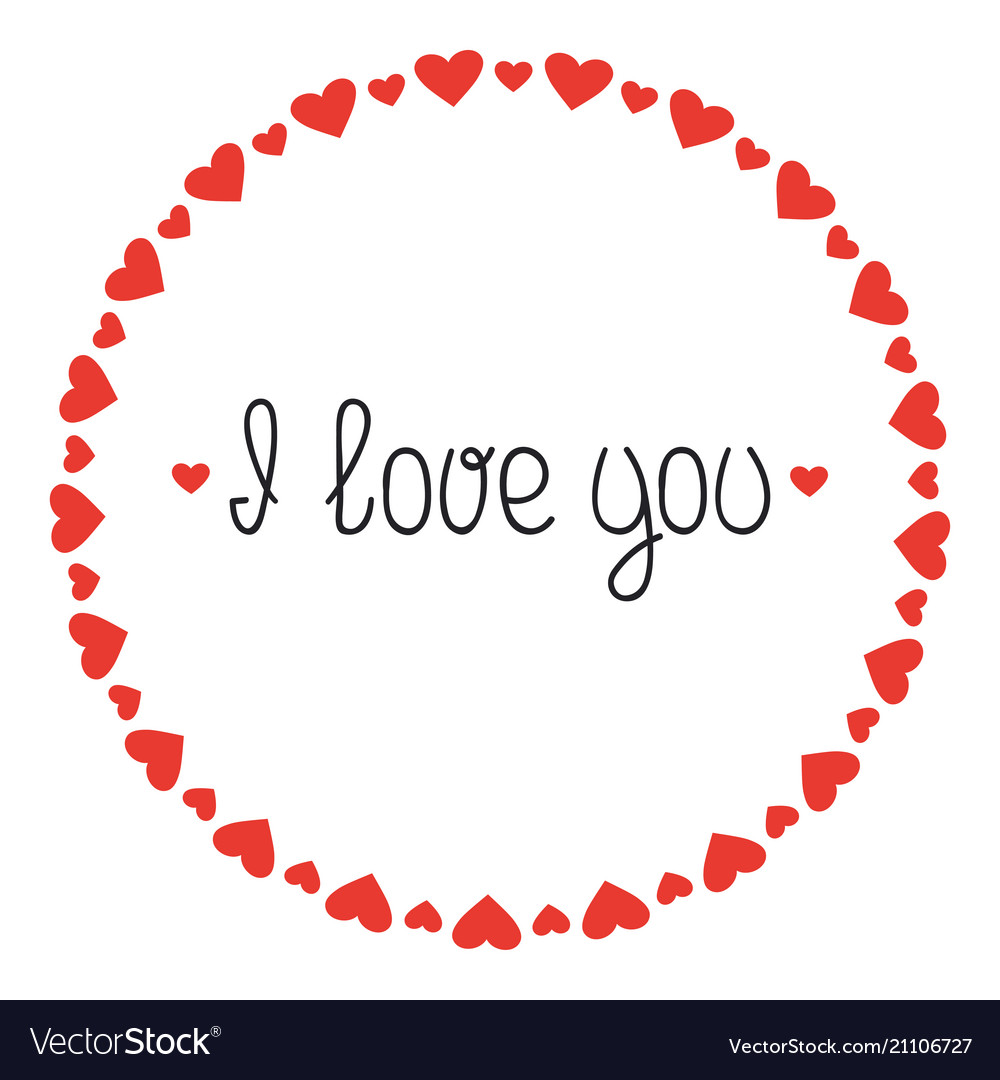 Download Round heart frame i love you romantic labels Vector Image