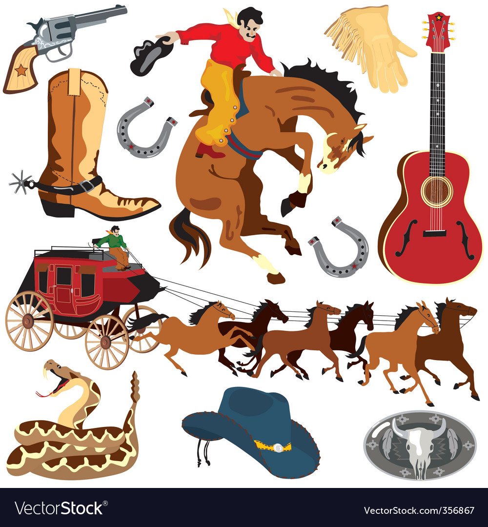 hight resolution of wild west clipart icons vector image