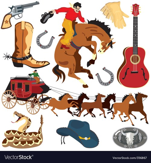 small resolution of wild west clipart icons vector image