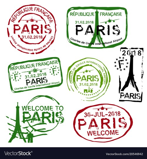 small resolution of french visa stamps vector image
